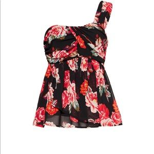 ASTR one-shoulder ruffle top in floral print.